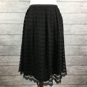 Trina Turk Black Lace Overlay Midi-Skirt EUC Sz 8